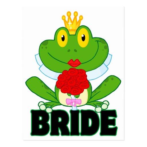 rana linda del froggy de la novia del dibujo postal