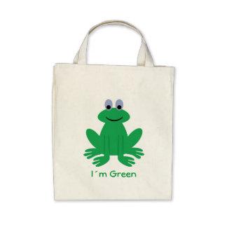 Rana linda la bolsa de asas orgánica verde de I´