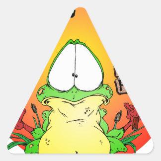 Rana loca del Hippie Pegatina Triangular