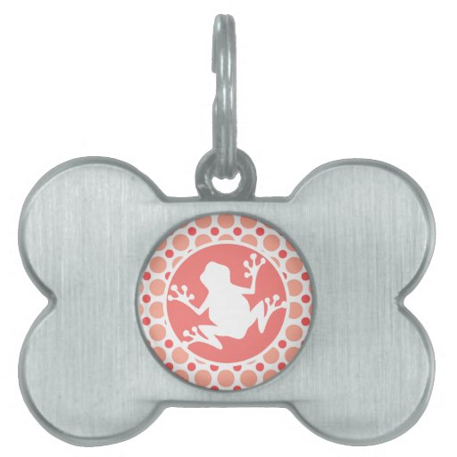 Rana; Lunares rosados y coralinos Placa De Nombre De Mascota