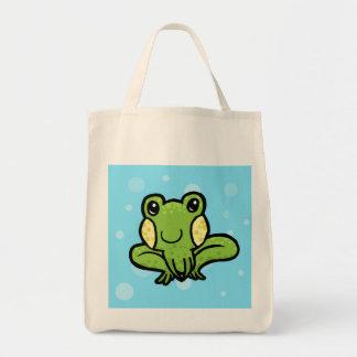 rana manchada del verde del dibujo animado bolsa lienzo