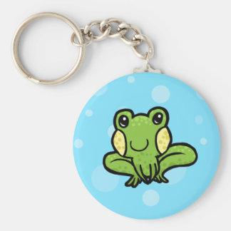 rana manchada del verde del dibujo animado llavero redondo tipo pin