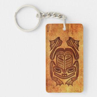 Rana nativa áspera del arte del Haida Llaveros