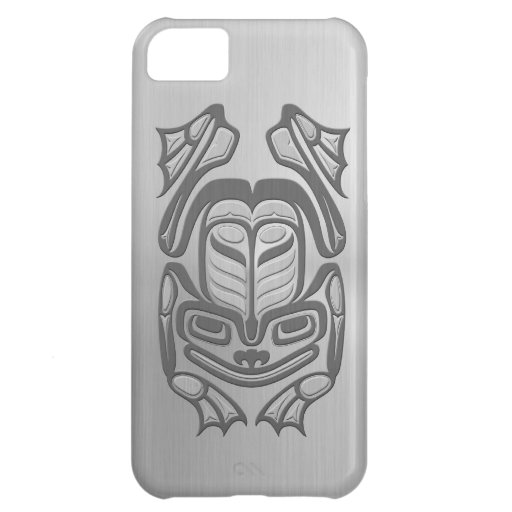 Rana nativa del arte del Haida - efecto de acero Funda Para iPhone 5C