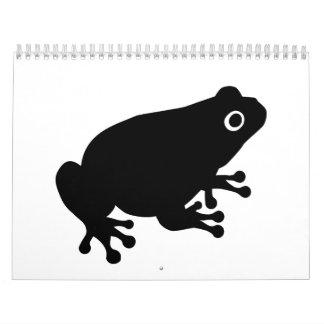 Rana negra del sapo calendario