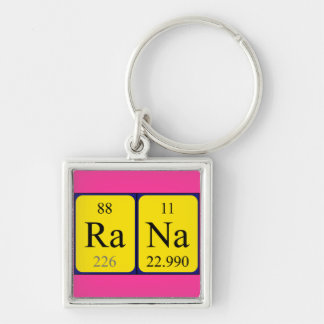 Rana periodic table name keyring Silver-Colored square keychain
