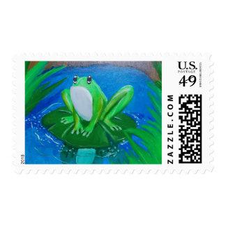 rana pintada en los sellos de la charca