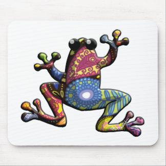 Rana púrpura azul de Paisley del oro Mousepads