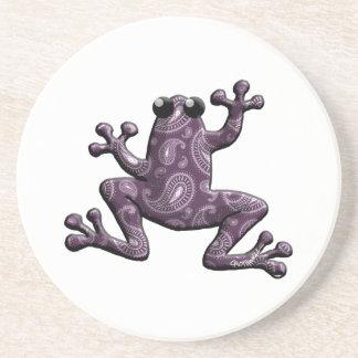 Rana púrpura de Paisley de la lavanda Posavasos Cerveza