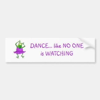 Rana púrpura del baile del tutú de la bailarina pegatina para auto