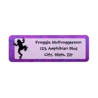 Rana púrpura etiqueta de remite