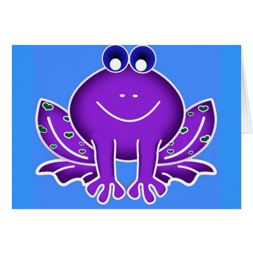 rana púrpura linda tarjeta de felicitación