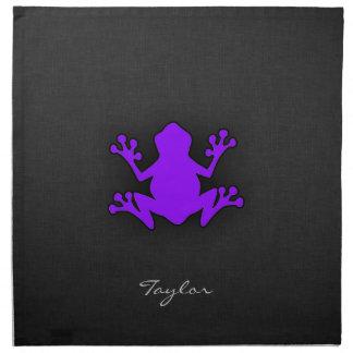 Rana púrpura violeta servilletas imprimidas