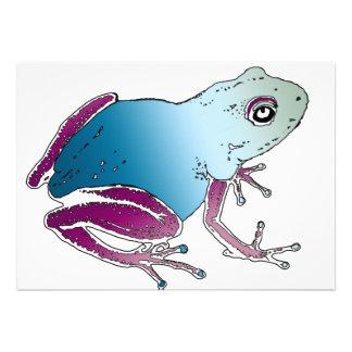 Rana púrpura y azul del dardo del veneno