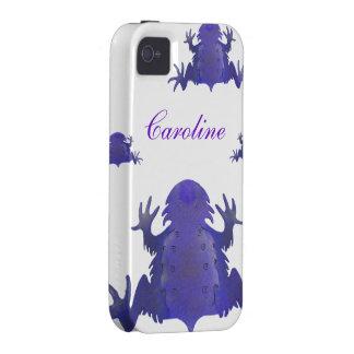 Rana púrpura y blanca Case-Mate iPhone 4 carcasas