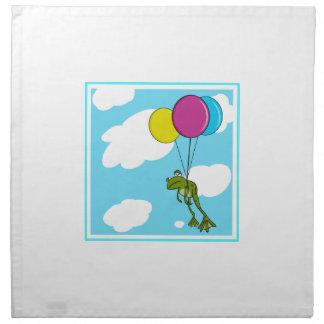 Rana que flota con los globos servilletas de papel