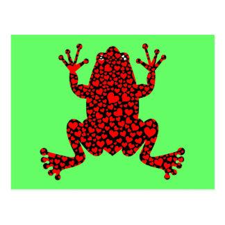 rana roja de los corazones postales
