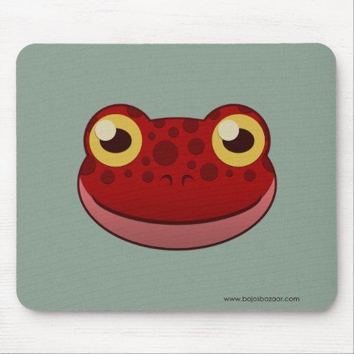 Rana roja de papel mouse pad