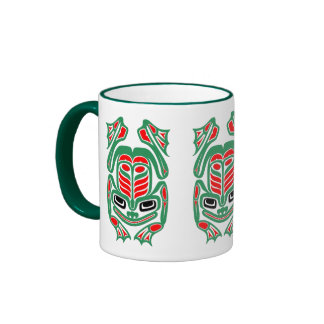 Rana roja y verde del arte nativo del Haida Taza A Dos Colores