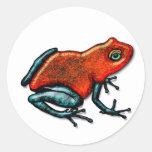 Rana roja y verde del dardo del veneno etiquetas