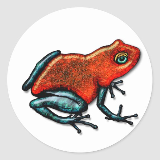 Rana roja y verde del dardo del veneno etiquetas redondas