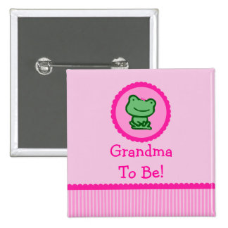 "Rana rosada ""abuela a ser"" botón de la fiesta de b"