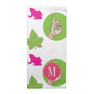 Rana rosada y verde servilleta imprimida