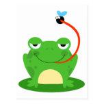rana torpe que coge un dibujo animado de la mosca tarjetas postales