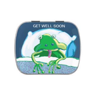 Rana triste enferma - consiga bien pronto latas de caramelos