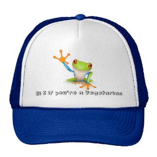 Rana vegetariana en el gorra azul del camionero