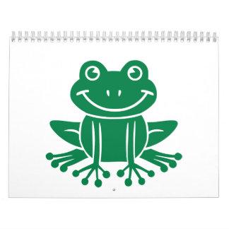 Rana verde calendario de pared
