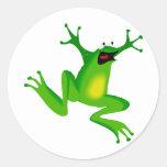 rana verde de baile pegatina redonda