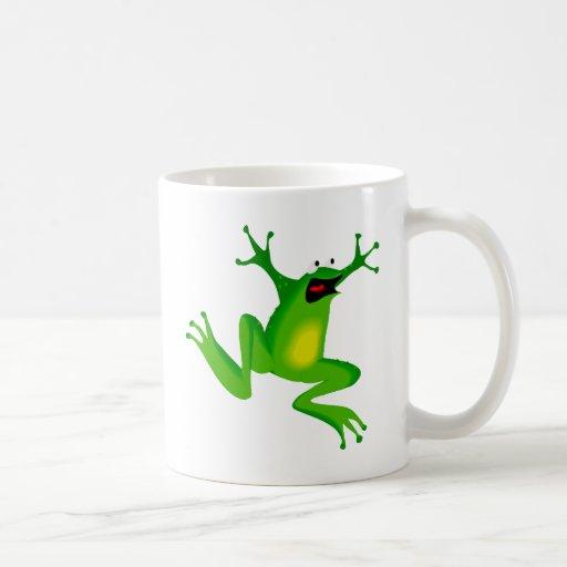 rana verde de baile tazas de café