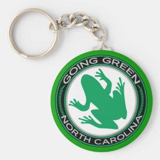 Rana verde de Carolina del Norte que va Llavero Redondo Tipo Pin