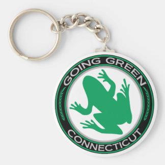 Rana verde de Connecticut que va Llavero Redondo Tipo Pin