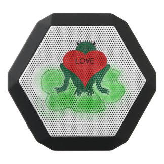 Rana verde de encargo con el corazón en el cojín altavoces bluetooth negros boombot REX