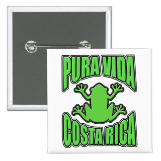 Rana verde de Pura Vida Costa Rica Pin Cuadrado