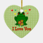 Rana verde del el día de San Valentín Adorno De Cerámica En Forma De Corazón