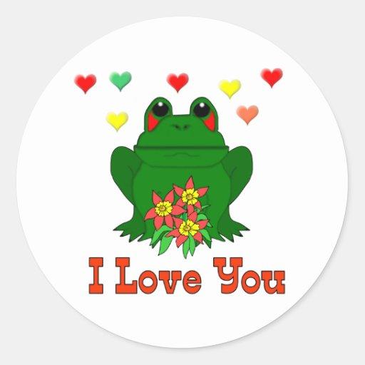 Rana verde del el día de San Valentín Pegatina Redonda
