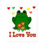 Rana verde del el día de San Valentín Postal