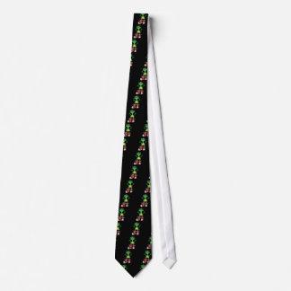 Rana verde divertida en arte rojo de las corbatas personalizadas