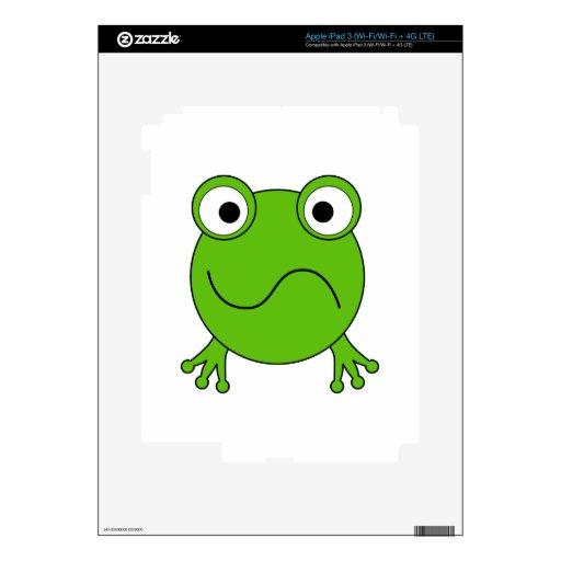 Rana verde. El parecer confundido iPad 3 Pegatinas Skins