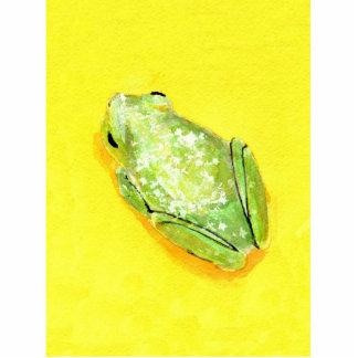 Rana verde en watercolour amarillo del fondo escultura fotografica