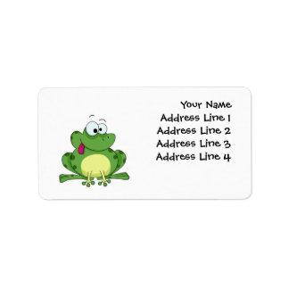 Rana verde feliz etiqueta de dirección