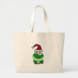 Rana verde feliz que lleva el gorra de Santa Bolsa Tela Grande
