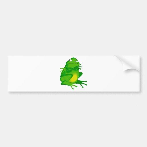 Rana verde gruñona pegatina para auto