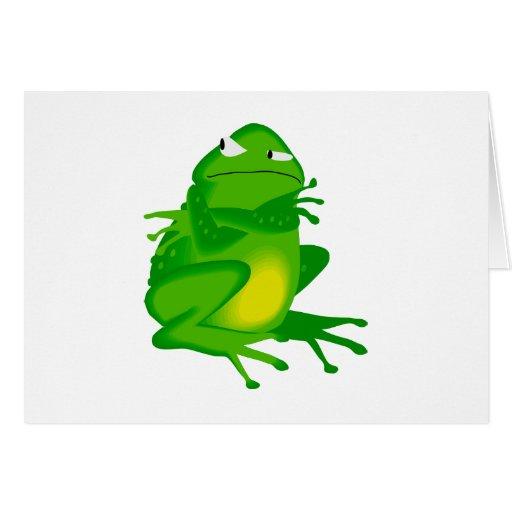 Rana verde gruñona tarjeta de felicitación