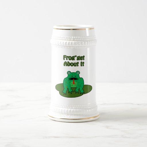 Rana verde - la rana consigue sobre ella tazas