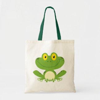 Rana verde linda bolsa tela barata