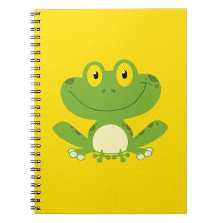 Rana verde linda spiral notebooks